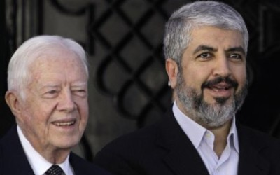Jimmy Carter with Hamas leader Khaled Meshaal.