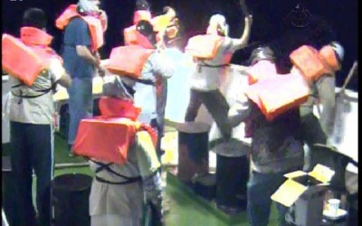 Footage taken from the Mavi Marmara security cameras shows the activists preparing to attack IDF soldiers.