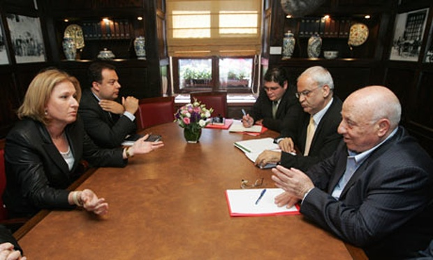 Negotiators Ahmed Qureia (right) and Saeb Erekat (2nd right) and Tzipi Livni (left), in the peace process. Photograph: David Furst/AFP/Getty Images
