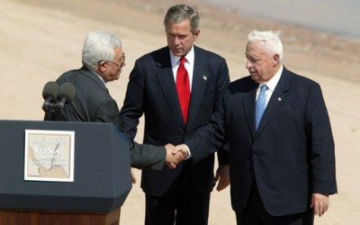 Prime Minister of the Palestinian National Authority Mahmoud Abbas, United States President George W. Bush, and Ariel Sharon, Red Sea Summit, Aqaba, June 2003