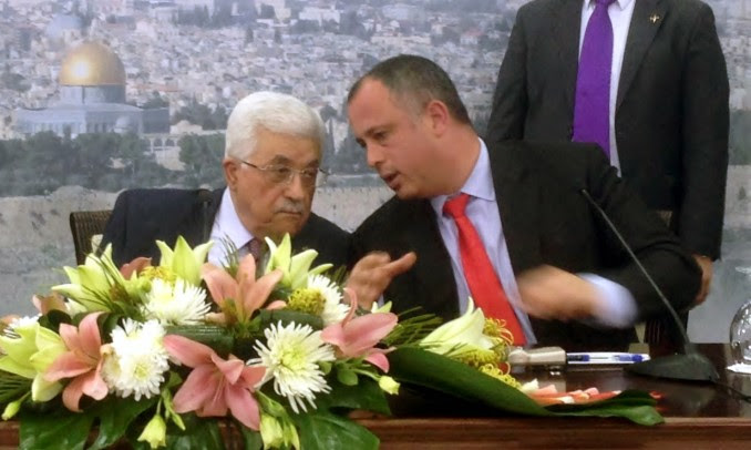 Mahmoud Abbas and Yehiel Bar