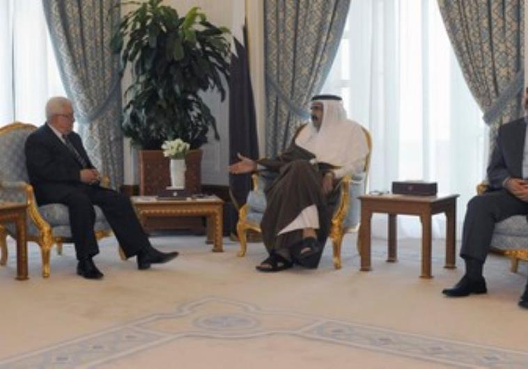 PA President Abbas meets Hamas chief Mashaal in Qatar 390 R. (photo credit:REUTERS/Thaer Ghanaim/PPO/Handout)