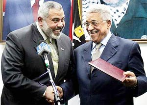 Ismail Abdel Salam Ahmed Haniyeh and Mahmoud Abbas