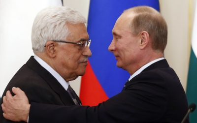 ussia's President Vladimir Putin (right) embraces his Palestinian counterpart Mahmoud Abbas after talks at the Novo-Ogaryovo state residence outside Moscow on March 14. Photo by REUTERS/Grigory Dukor