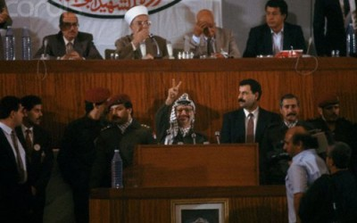 Yasser Arafat, proclaiming the Palestinian Declaration of Independence (written by the Palestinian poet Mahmoud Darwish) on November 15,1988.