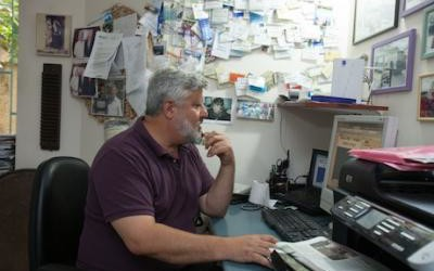 The office of Gershon Baskin, co-founder of IPCRI, who tirelessly worked to release Israeli soldier Gilad Shalit from long captivity at the hands of Hamas. The veteran peace activist is always working. If someone in distress calls him at dawn, for instance, he leaves everything behind and goes wherever he has to, with little sleep.