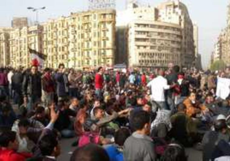Egyptian protesters in the streets of Cairo (photo credit:MELANIE LIDMAN)