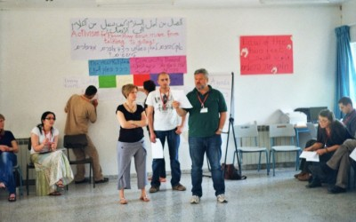 Carol Daniel Kasbari and Gershon Baskin facilitating the Open Space Activism For Peace Workshop: Moving From Words To Action at the IPCRI Peace Education Workshop, March 12-13, 2010