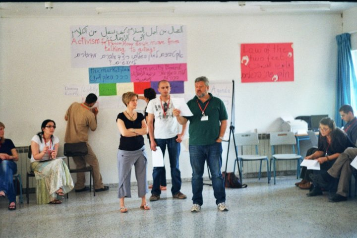 Carol Daniel Kasbari, Bassam Ghazal and Gershon Baskin facilitating the Open Space Activism For Peace Workshop: Moving From Words To Action at the IPCRI Peace Education Workshop, March 12-13, 2010