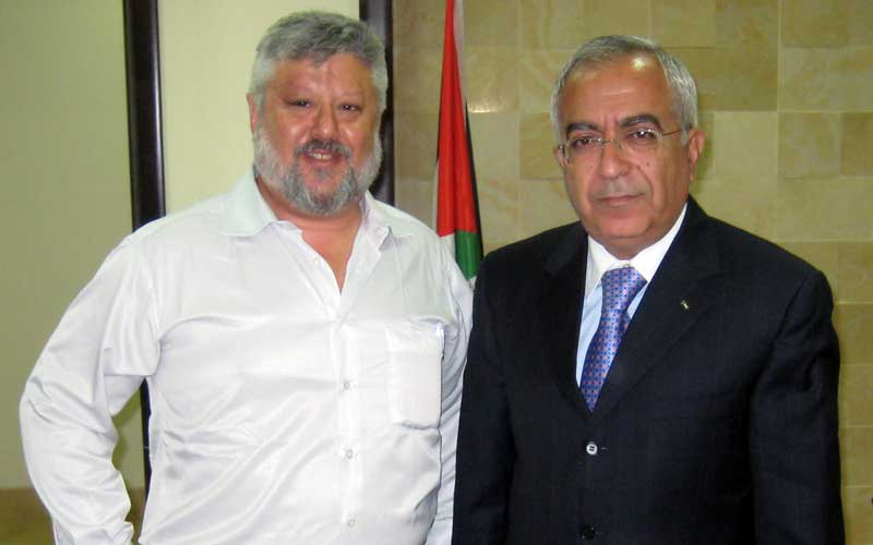 Gershon Baskin with Salam Fayyad, Palestinian politician and former Prime Minister of the Palestinian National Authority.