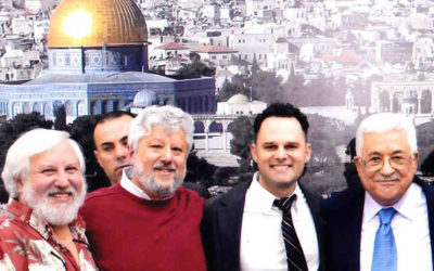 Lonny Baskin (Brother of Gershon), Gershon Baskin, Eyal Aviv (Director of MePeace) and Mahmoud Abbas (Abu Mazen)