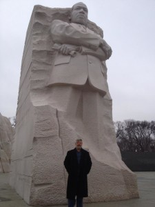 Gershon Baskin in Front of a Statue of Martin Luther King Jr.
