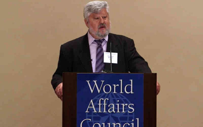 Gershon Baskin addresses the World Affairs Council in Houston