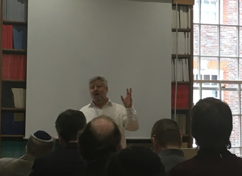Gershon Baskin speaking at an event with the Council of Christians and Jews on Monday