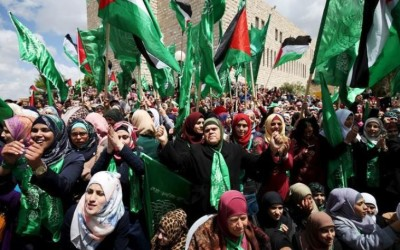 Palestinians supporting Hamas chant slogans during a rally celebrating Hamas student supporters winning the student council election at Birzeit University in Ramallah. (photo credit:REUTERS)
