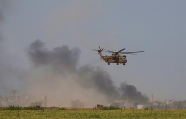 A HELICOPTER evacuates wounded from Gaza to a hospital. Photo: REUTERS