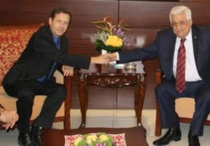 Opposition leader Isaac Herzog (Labor) met with PA President Mahmoud Abbas. (photo credit:Ran Aharon)