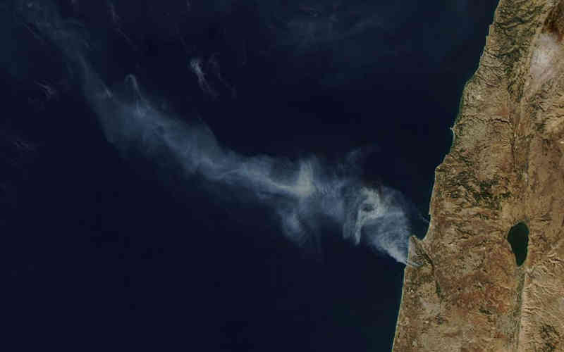 A view of the Carmel Fire from NASA's Aqua satellite taken on December 3, 2010
