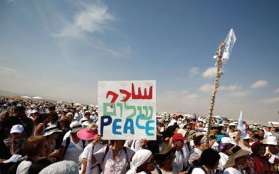 Activists, including Israelis and Palestinians, take part in a demonstration in support of peace near Jericho. (photo credit:REUTERS)