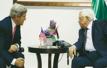 US Secretary of State John Kerry meets with Palestinian President Mahmoud Abbas. US Secretary of State John Kerry meets with Palestinian President Mahmoud Abbas. Photo: REUTERS