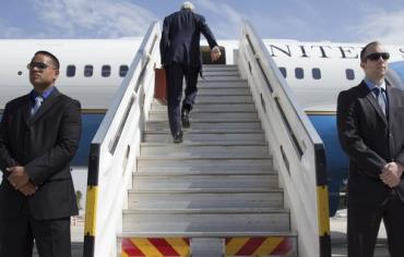 Turning his back on the peace process?: US Secretary of State John Kerry leaves Tel Aviv, April 1, as Israeli-Palestinian peace talks collapse Photo: JACQUELYN MARTIN / POOL / REUTERS