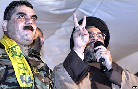 Samir Kuntar with Hezbollah Chief Hassan Nasrallah after he was released from jail by Israel