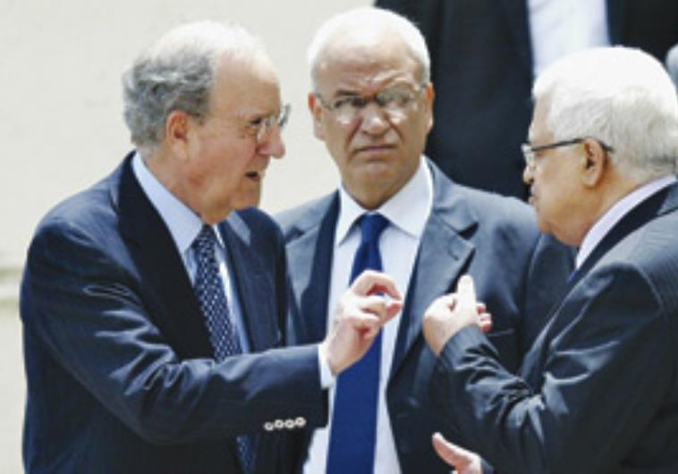 George Mitchel, Saeb Erekat and Mahmoud Abbas