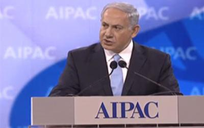 Netanyahu speaking at AIPAC 2014.