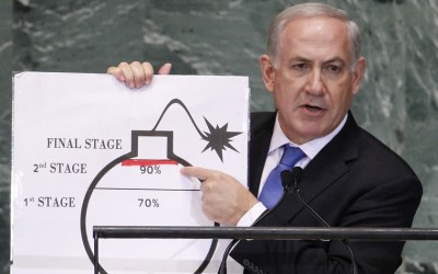 Binyamin Netanyahu warns against nuclear Iran at 2012 UN General Assembly. (photo credit:REUTERS)