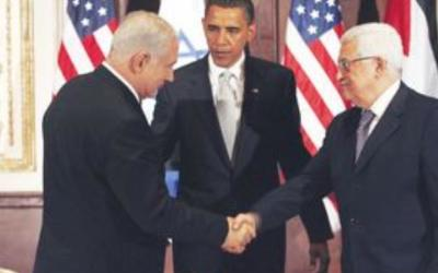TRY AND TRY AGAIN. The summit in September 2009. Obama had urged then for both sides to start talks Obama, Netanyahu and Abbas,. (photo credit:Associated Press)