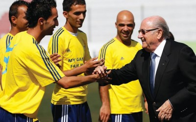 FIFA President Sepp Blatter with Palestinian soccer coaches. (photo credit:REUTERS)