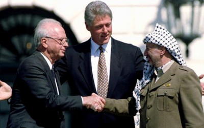 Former prime minister Yitzhak Rabin, former US president Bill Clinton, and the late PLO leader Yasser Arafat on the White House lawn.. (photo credit:REUTERS)