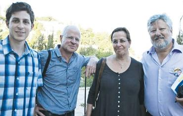Gilad, Noam and Aviva Shalit with Gershon Baskin
